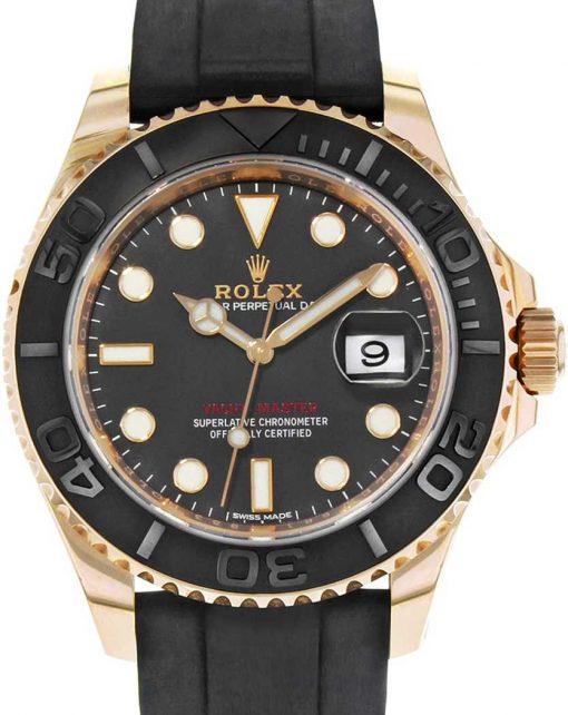 Replica de reloj Rolex Yacht master 03 (42 mm) 116655 Oro (Esfera negra) Correa de caucho, Automático
