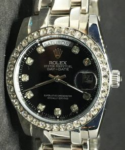 Replica de reloj Rolex Day-Date 03 (40mm) Esfera negra (Diamonds) Automático