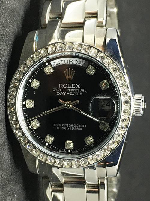 Replica de reloj Rolex Day-Date 03 (40mm) Esfera negra (Diamonds) Automático