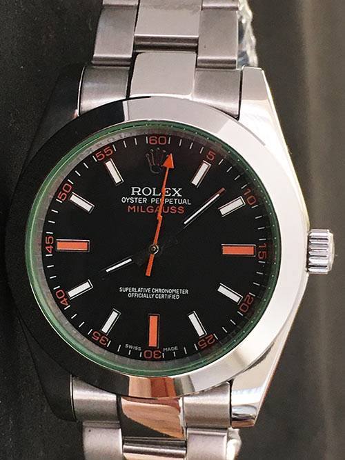 Replica de reloj Rolex Milgauss 01 116400GV (40mm) Esfera negra