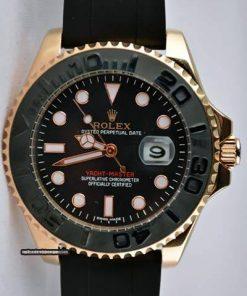 Replica de reloj Rolex Yacht master 03 (40mm) 116655 Oro (Esfera negra) Correa de caucho, Automático