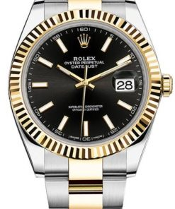 Replica de reloj Rolex Datejust 25 (41mm) 126333 Oyster (Esfera negra) Acero/oro automático (Bi-color)