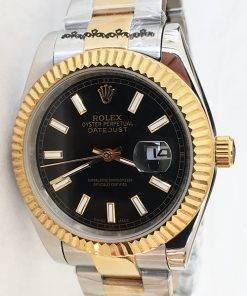Replica de reloj Rolex Datejust 25 (41mm) 126333 Oyster (Esfera negra) Acero/oro