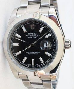 Replica de reloj Rolex Datejust 24 (41mm) 126300 Oyster (Esfera negra)