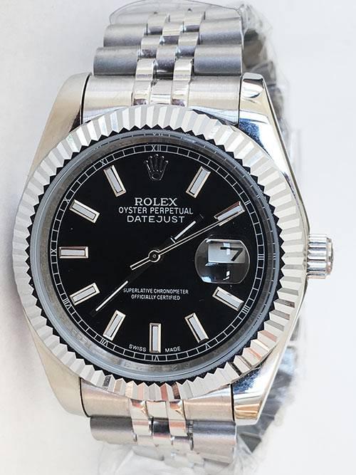 Replica de reloj Rolex Datejust 28 (41mm) 126334 Jubilee (Esfera negra)