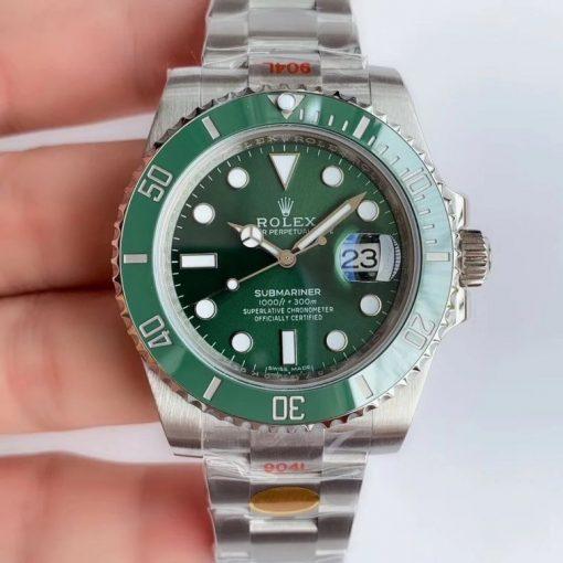 """Replica de reloj Rolex Submariner 02 Date (40mm) 116610LV """"Hulk"""" Verde Oyster (Con fecha) Automatico"""