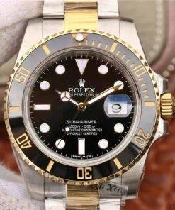 """Replica de reloj Rolex Submariner 04 (40mm) 116613LN """"Negro"""" Acero y oro Oyster (Con fecha) Automatico"""