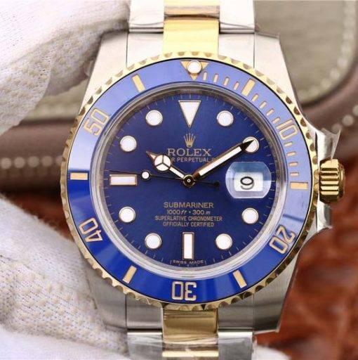 """Replica de reloj Rolex Submariner 04 (40mm) 116613BLSO """"Azul"""" Acero y oro Oyster (Con fecha) Automatico"""