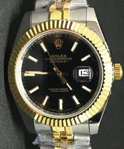 Replica de reloj Rolex Datejust 30 (40mm) Jubilee Acero y Oro (Esfera negra)