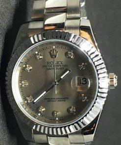 Replica de reloj Rolex Datejust 33 (40mm) (Correa Jubilee ) Esfera gris (Diamantes)
