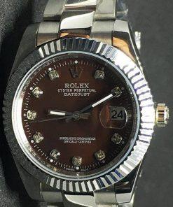 Replica de reloj Rolex Datejust 34 (40mm) (Correa Jubilee) Esfera Marrón (Diamantes)
