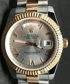Rolex Day-Date 02 (40mm) Esfera gris(acero y oro (President band)