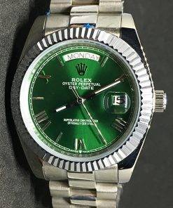 Replica de reloj Rolex Day-Date 05 (40mm) Esfera verde (Correa President) Automático (Oro blanco)
