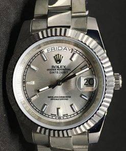 Replica de reloj Rolex Day-Date 05 (40mm) Esfera gris (Correa Oyster) Automático