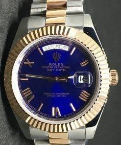 Replica de reloj Rolex Day-Date 07 (40mm) (Correa President) Bi-color (Esfera azul) Automático