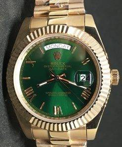 Replica de reloj Rolex Day-Date 08 (40mm) Esfera verde (Correa President) Automático (Oro)