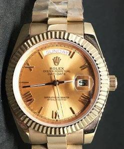 Replica de reloj Rolex Day-Date 11 (40mm) Esfera dorada (Correa President) Automático (Oro)