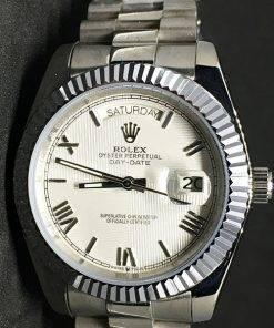 Replica de reloj Rolex Day-Date 12 (40mm) Esfera blanca (Correa President) Automático