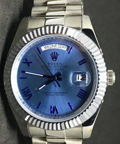 Replica de reloj Rolex Day-Date 13 (40mm) Esfera azul (Correa President) Automático Números romanos
