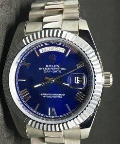 Replica de reloj Rolex Day-Date 14 (40mm) Esfera azul (Correa President) Automático números romanos