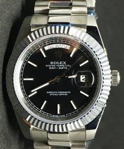 Replica de reloj Rolex Day-Date 15 (40mm) Esfera negra (Correa President) Automático