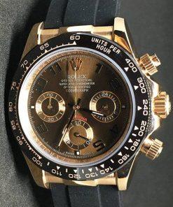 Replica de reloj Rolex Daytona 02 cosmograph (40mm) Gold Chocolate(Correa de caucho)