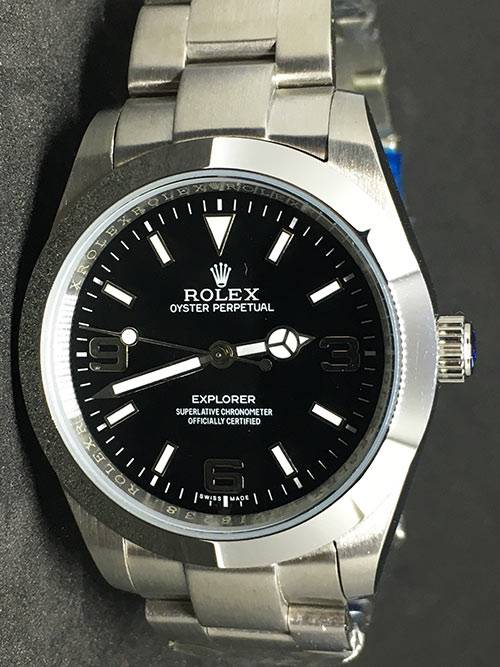 Replica de reloj Rolex Explorer 01 (39mm) 214270 Esfera negra (Acero) correa Oyster