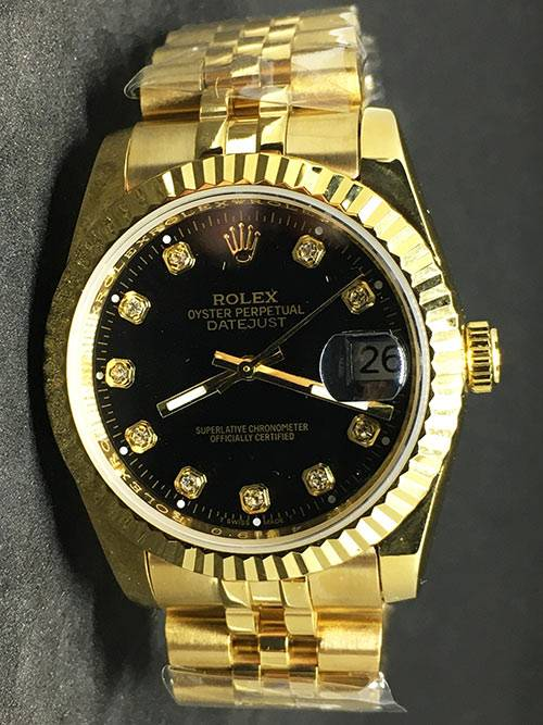 Replica de reloj Rolex Datejust 35 (36mm) (Correa Jubilee) Esfera negra (Diamantes) Oro)