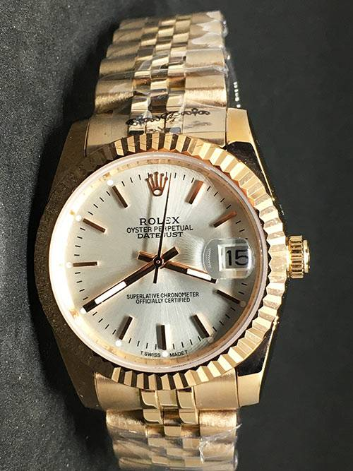 Replica de reloj Rolex Datejust 38 (36mm) (Correa Jubilee) Esfera blanca