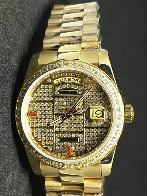 Replica de reloj Rolex Datejust 39 (36mm) (President ) Gold (Full Diamonds) Oro