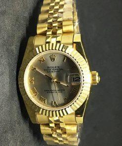 Replica de reloj Rolex Datejust Dames 01 (28mm) Esfera oro / correa Jubilee