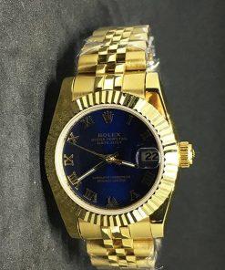 Replica de reloj Rolex Datejust Dames 02 (28 mm)Esfera azul (Correa Jubilee) Gold
