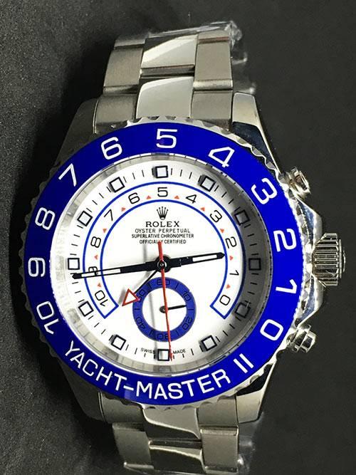 Replica de reloj Rolex Yacht master 08 (44mm) 116680 (Esfera blanca) Automático (Oyster) Bisel azul