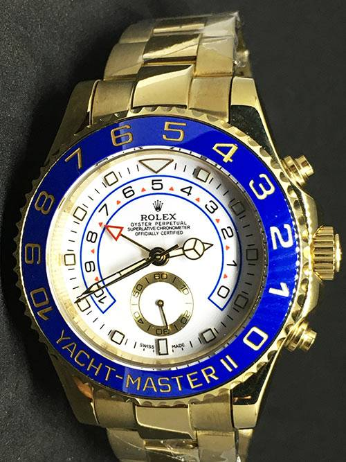 Replica de reloj Rolex Yacht master ll 07 (44mm) 116688 Esfera blanca Automático (Oyster) Bisel azul