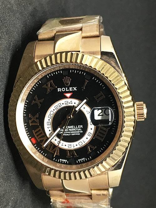 Replica de reloj Rolex Sky dweller 02 (42mm) Esfera negra/ Oro