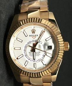 Replica de reloj Rolex Sky dweller 03 (42mm) Esfera blanca /Oro