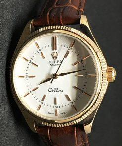 Replica de reloj Rolex Cellini 02 (40mm) Esfera blanca (Correa de piel) Automático