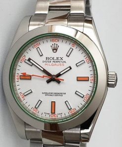 Replica de reloj Rolex Milgauss 02 116400GV (40mm) Esfera blanca