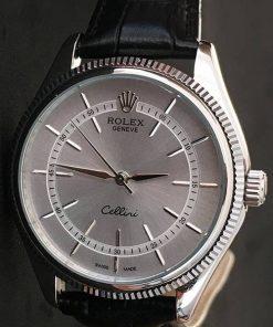 Replica de reloj Rolex Cellini 02 (40mm) Esfera gris (Correa de piel) Automático