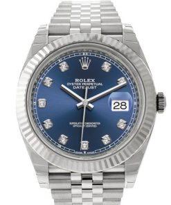 Replica de reloj Rolex Datejust 31(40mm) 126334 (correa Jubilee) Esfera azul (Diamantes) automático Oro blanco