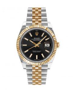 Replica de reloj Rolex Datejust ll 30 (40mm) 126333 correa jubilee Acero y Oro (Esfera negra) automático