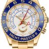 Replica de reloj Rolex Yacht master ll 07 (44mm) 116688 Esfera blanca Automático (Oyster) Bisel azul Oro