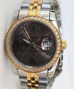 Replica de reloj Rolex Datejust 41 (36 mm) (Jubilee) Bi-color (Esfera con flores) acero y oro