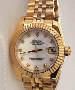 Replica de reloj Rolex Datejust Mujer 04 (28 mm) Esfera blanca (Correa jubilee) Oro (Diamantes)