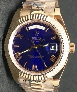 Replica de reloj Rolex Day-Date 18 (40mm) Esfera azul (Correa President) Automático Yellow gold (Números romanos)