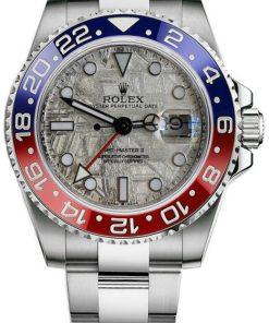 """Replica de reloj Rolex Gmt-Master ll 08/1 (40mm) Meteorite 126710 """"Pepsi"""" Jubilee (Automático) Bisel Rojo y Azul"""