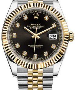 Replica de reloj Rolex Datejust ll 30/4 (41mm) 126333 correa jubilee Bicolor (Esfera negra) automático / diamantes