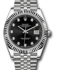 Replica de reloj Rolex Datejust ll 30/2 (41mm) 126334 correa jubilee (Esfera negra) automático / diamantes