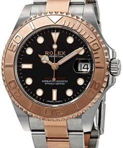 Replica de reloj Rolex Yacht master 08 (40mm) 16623 (Esfera negra) Automático (correa Oyster) Acero y oro