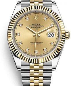 Replica de reloj Rolex Datejust ll 30/2 (41mm) 126333 correa jubilee Acero y Oro (Esfera dorada) automático / diamantes